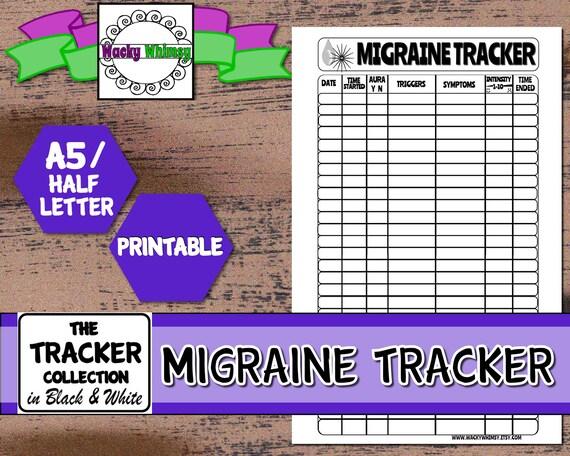 Migraine Tracker Planner Insert Black White Printable
