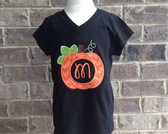 Pumpkin monogram appliquéd long sleeve shirt