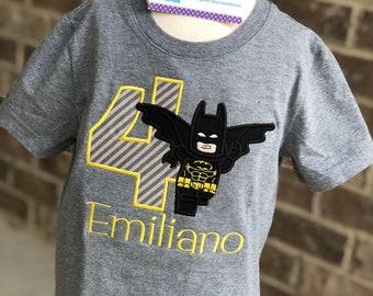Batman Flying Lego birthday appliqued shirt