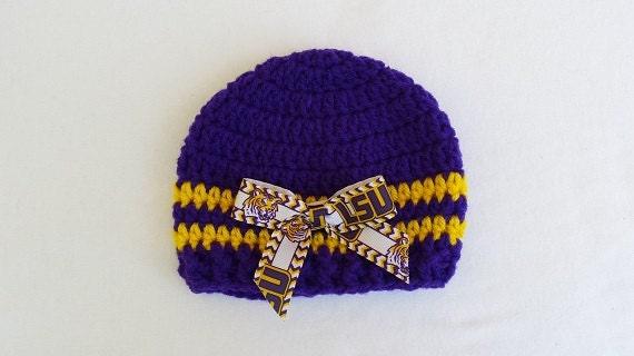 fdf3ebd4719 Baby Hat Louisania State University LSU Hand Crochet sizes