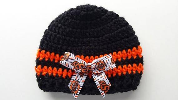 52cc32637c7 Baby hat Oklahoma State Hand Crochet sizes Newborn or 3-6