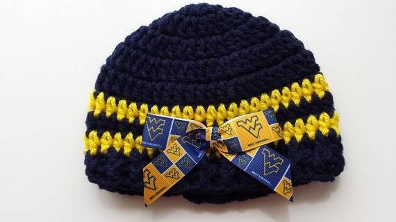 818376348d6 Baby hat University of West Virginia Hand Crochet sizes