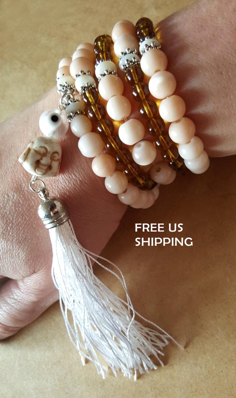 108 Mala beads Buddhist prayer Buddha Evil Eye Yoga Mantra Tassel Necklace  Wrap Bracelet Gemstones Howlite Quartz Healing Meditation Light