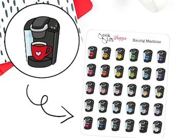 Coffee Machine Keurig Planner Sticker / Life Planner Sticker / Icon Functional Sticker / Coffee Sticker / ECLP /  Erin Condren Happy Planner