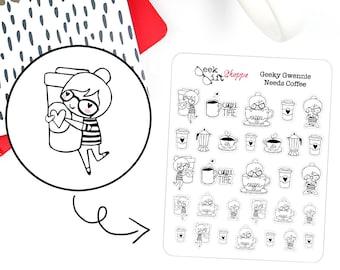 Geeky Gwennie Needs Coffee Planner Sticker / Life Planner Sticker / ECLP / Coffee Cup Sticker / Character Sticker / Nerd Girl Glasses / G007