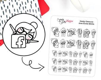 Geeky Gwennie Does Social Media Planner Stickers / Life Planner Sticker / ECLP / Facebook Instagram Twitter Sticker / Geeky Sticker / G020