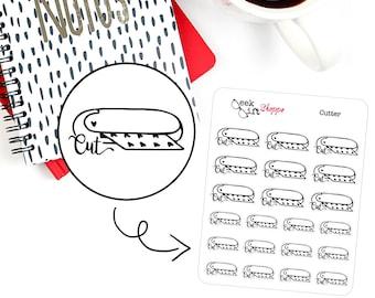 Cutter Planner Sticker / Life Planner Icon Functional / Silhouette Cameo Cricut Sticker / ECLP Doodle /  Erin Condren Happy Planner F003