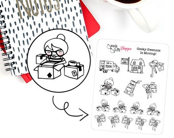 Geeky Gwennie Is Moving Planner Sticker / Life Planner Sticker / ECLP / Packing Move Sticker / Character Sticker / Nerd Girl Glasses / G010