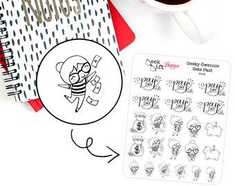 Geeky Gwennie Gets Paid Planner Sticker / Life Planner Sticker / ECLP / Pay Day Payday Sticker / Character Doodle / Cute Nerd Girl / G018