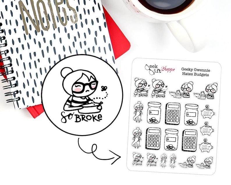 Geeky Gwennie Hates Budgets Planner Stickers / Money Sticker / image 0