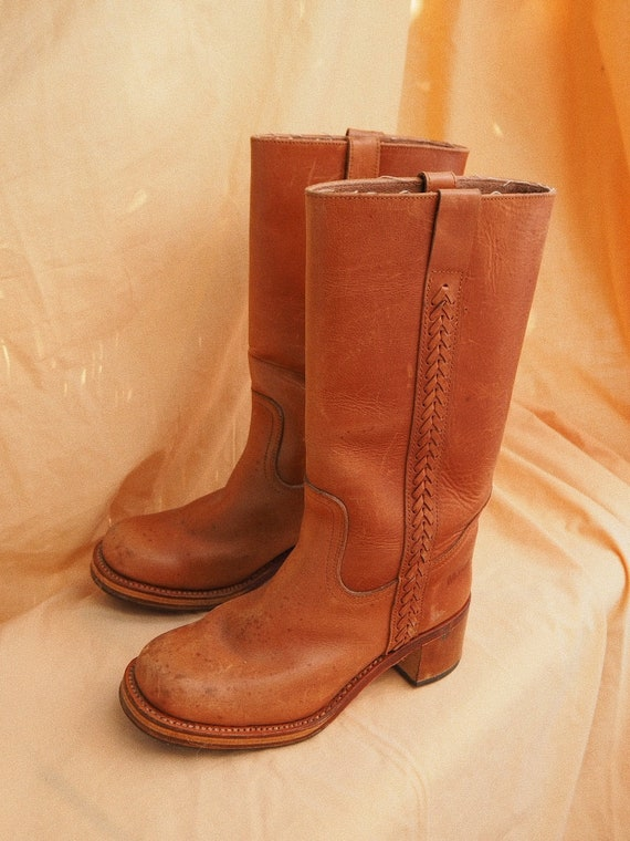 VINTAGE LEATHER BOOTS // Vintage Tall Leather Boot