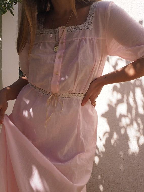 VINTAGE DRESS // Pink Cotton Summer Dress