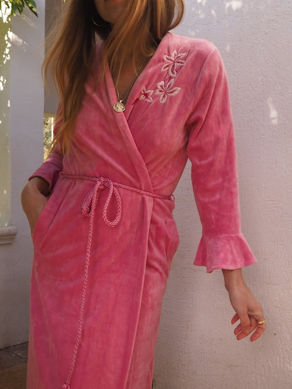 PINK VELVET ROBE // Long Pink Robe // Vintage Velv