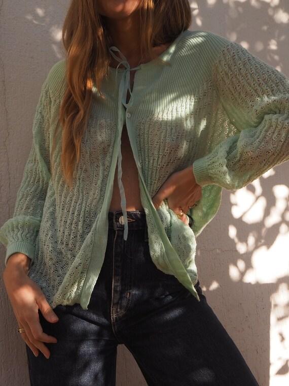 VINTAGE GREEN CARDIGAN // 60s cardigan // 60s swea