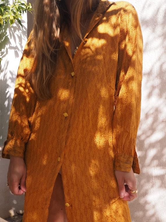 VINTAGE SHIRT DRESS // Vintage Mustard Shirt Dress