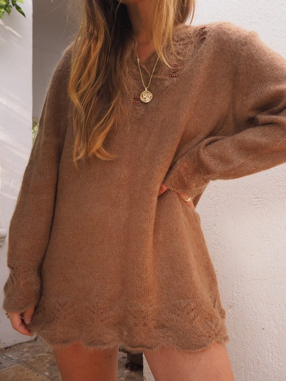 VINTAGE MOHAIR KNIT // Slouchy Brown Knit