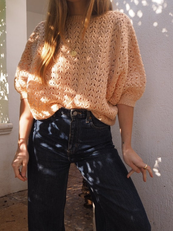 PEACH VINTAGE KNIT // Vintage Peach Knit Sweater