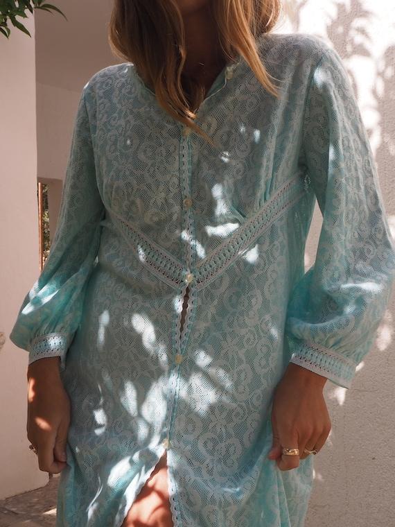 VINTAGE BLUE MAXI Dress // Bohemian Maxi Dress //