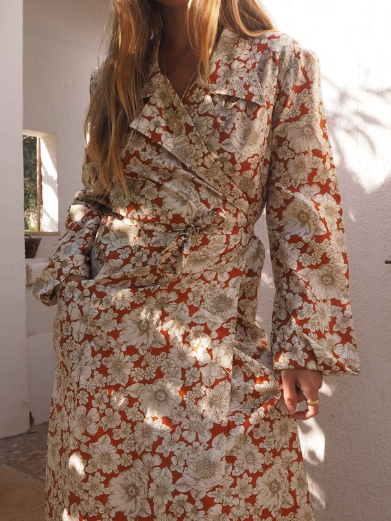 VINTAGE WRAP DRESS // Vintage Silk Wrap Dress Flor