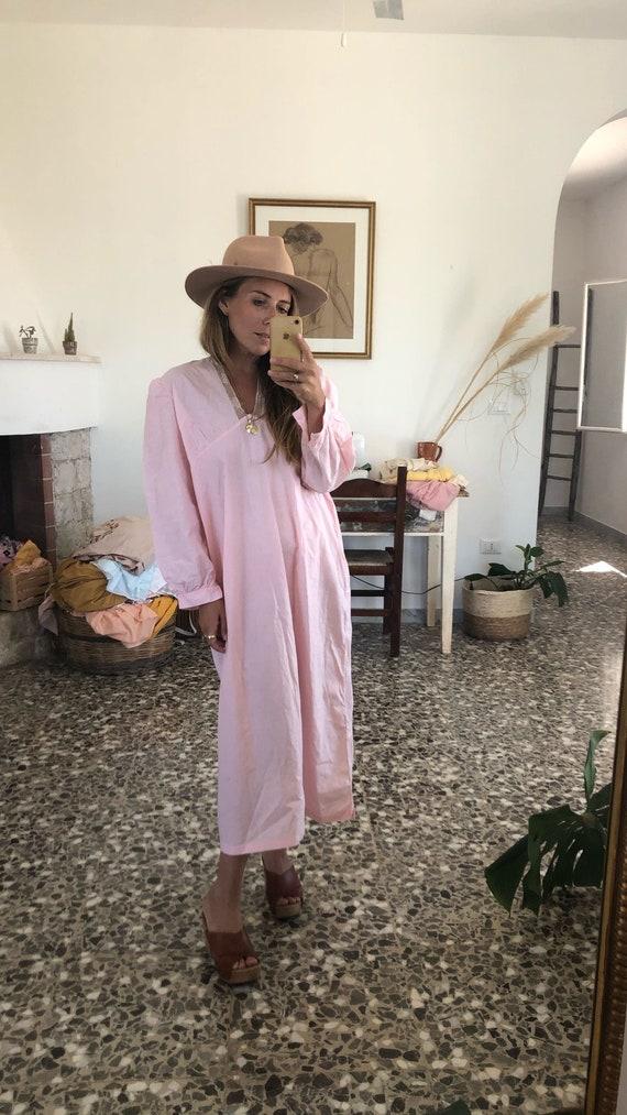 ANTIQUE PINK DRESS // Vintage Pink Maxi Cotton Dr… - image 2