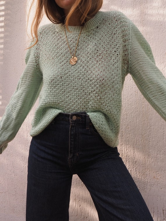 VINTAGE MINT GREEN Sweater // Green Sweater // Sea