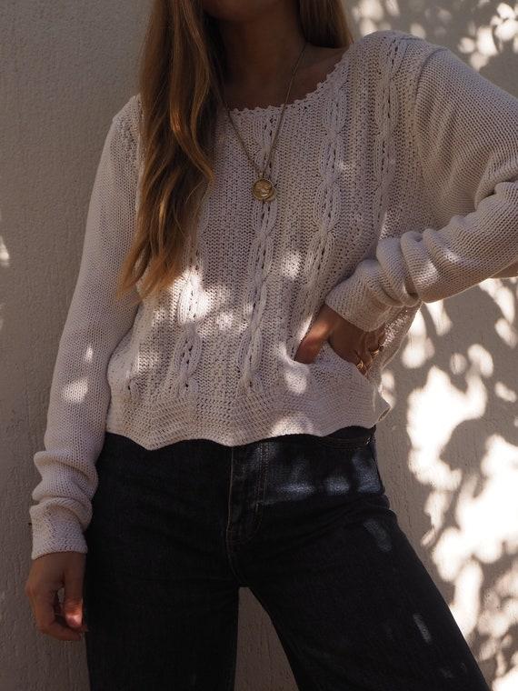 VINTAGE COTTON SWEATER // White Cotton Knit Jumper