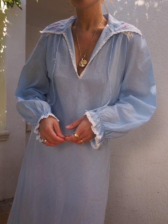 VINTAGE 60s MAXI DRESS // Blue Vintage Maxi Dress