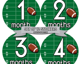 Baby Boy Monthly Baby Stickers Baby Month Stickers Football Stickers Monthly Photo Stickers Monthly Milestone Stickers 812