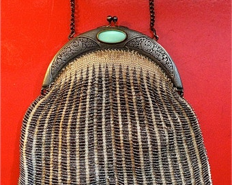 Vintage Beaded Bag with Etched Pewter Frame and Large Stone at Closure