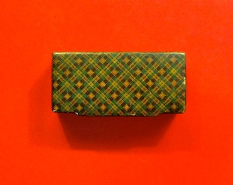 Vintage Wooden Snuff Box, Green and Gold Plaid