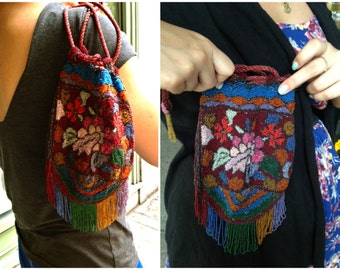 Vintage Beaded Floral Drawstring Purse