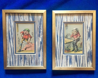 Pair of Vintage Handyman Prints Framed in Gold Leaf with Vintage Book Paper