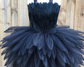 black swan costume, black bird costume, black crow costume, swan tutu, black feather tutu dress, NYE dress, little black dress,