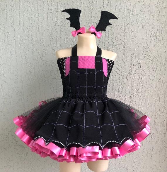 Little vamparina Filles Fête D/'Halloween Fancy Dress Kids Childs Vampire Costume