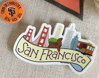 San Francisco Skyline Vinyl Sticker / SF California Sticker / Cool Laptop Sticker / Illustrated SF City Bumper Sticker / Waterproof Sticker