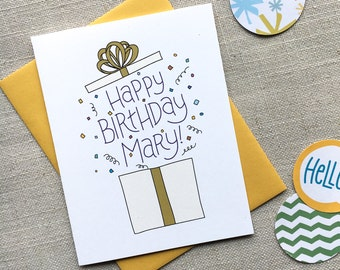 Custom Birthday Card Illustrated Present Hand Lettered Greeting Gift