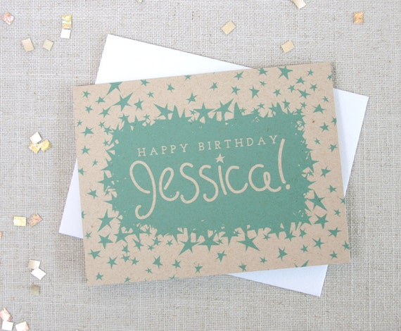 Star Pattern Custom Name Happy Birthday Card Customizable
