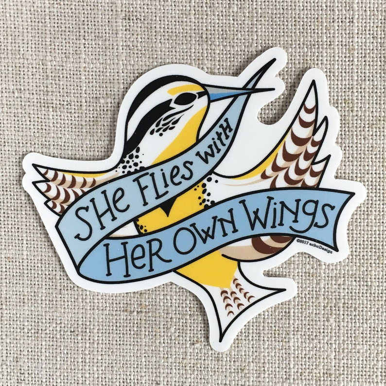 She Flies With Her Own Wings Vinyl Sticker / Oregon State image 0