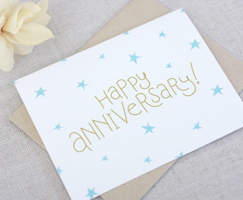 stars anniversary card  happy anniversary hand lettered
