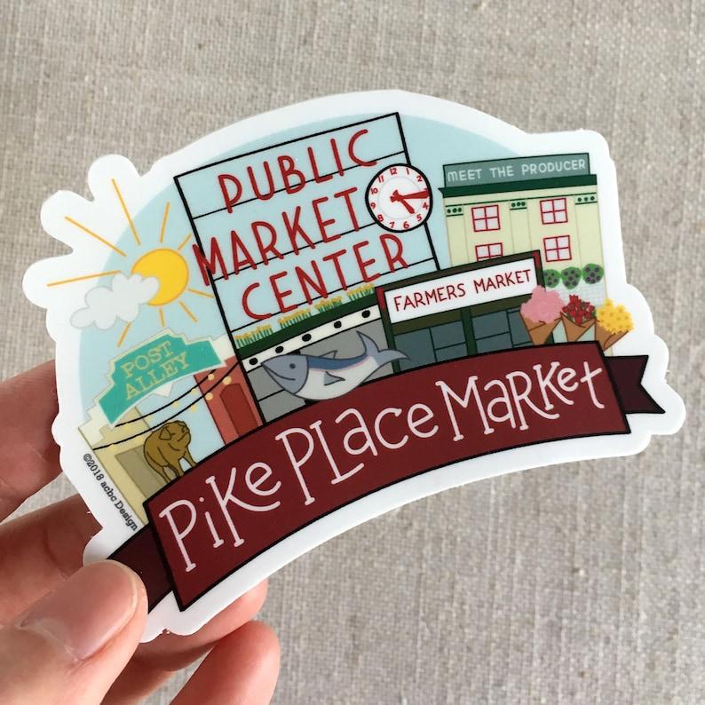 Pike Place Market Vinyl Sticker  Seattle Washington Memento  Cool Laptop Sticker  Seattle Travel Sticker  Illustrated Bumper Sticker