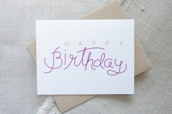 Happy Birthday Hand Lettered Card Modern Birthday Card For Etsy