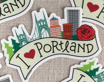 I Love Portland Vinyl Sticker / Cool Hand Lettered Design / Water Bottle Sticker / Laptop Sticker / Portland Oregon Sticker / PDX Sticker