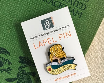 Blonde Book Babe Enamel Lapel Pin / Gift for Reader / Book Gift / Flair Pin / Gift for Girlfriend / Soft Enamel Pin / Love Reading Pin