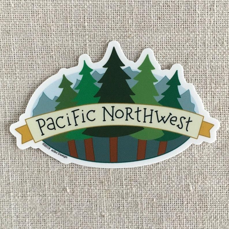 6a95907156865 Pacific Northwest Trees Vinyl Sticker   Tree Hugger Sticker