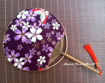 Japanese Festival UCHIWA Kimono Yukata Sakura Pagoda Hand Held Dancing Dance Fan