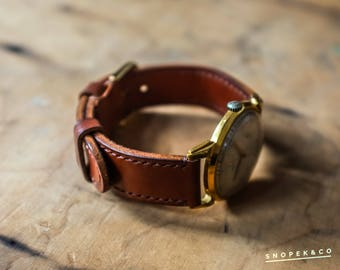 Classic handcrafted leather watch strap #8 with your initials