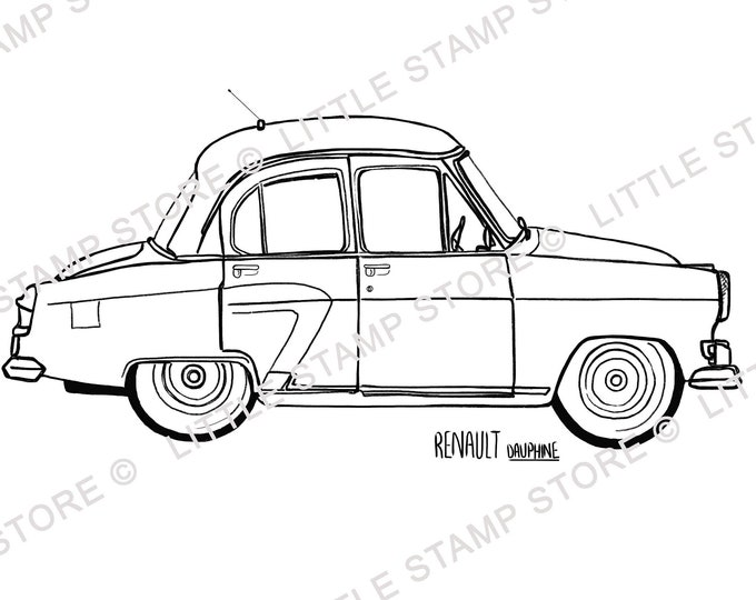 Renault Dauphine Classic Car Rubber Stamp