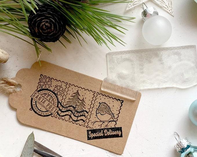 Santa Post Rubber Stamp