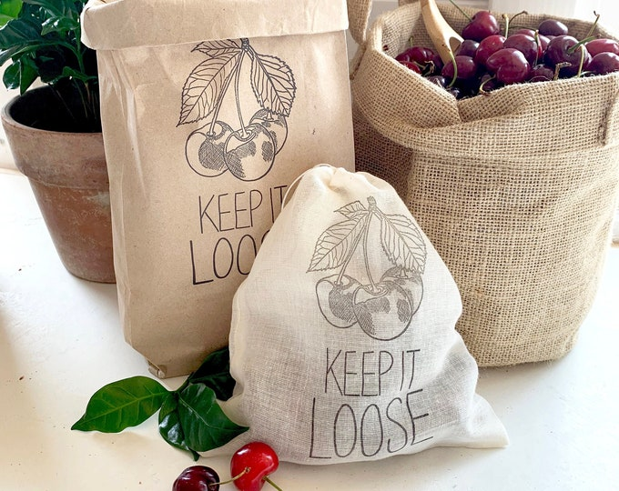 Reusable eco tote bag - for loose produce shopping - Earth friendly - Cherry bag - Cherries - Paper Bag