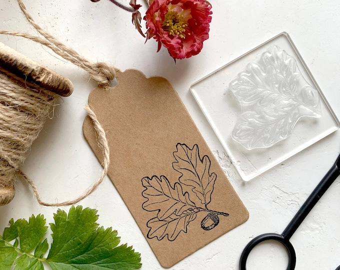 Oak Leaf and Acorn Sprig Rubber Stamp - Oak Leaf Stamp - Acorn - Oak Leaf and Acorn - Clear Stamp - Oak and Acorn - Little Stamp Store